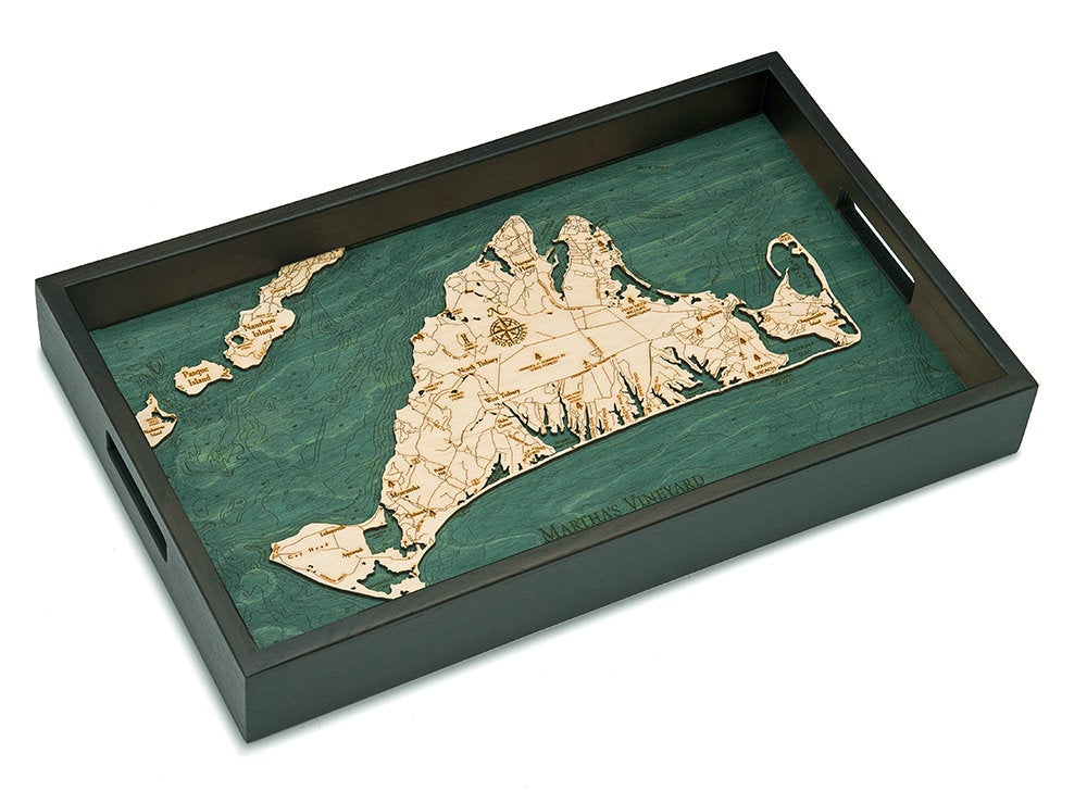 Martha's Vineyard Wooden Topographical Serving Tray - Nautical Lake Art