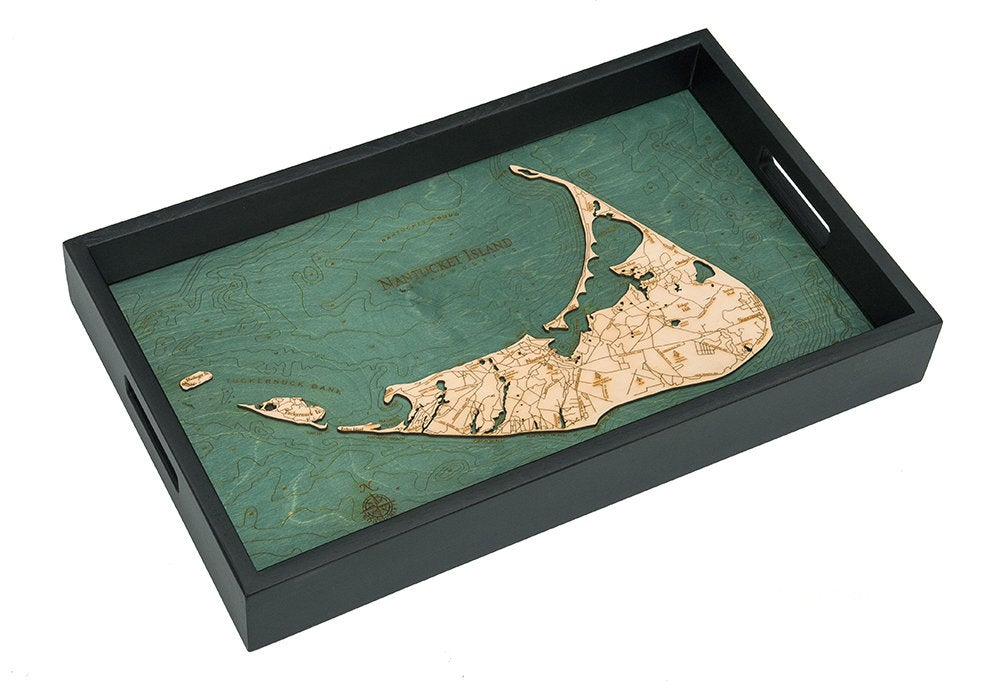 Nantucket Wooden Topographical Serving Tray