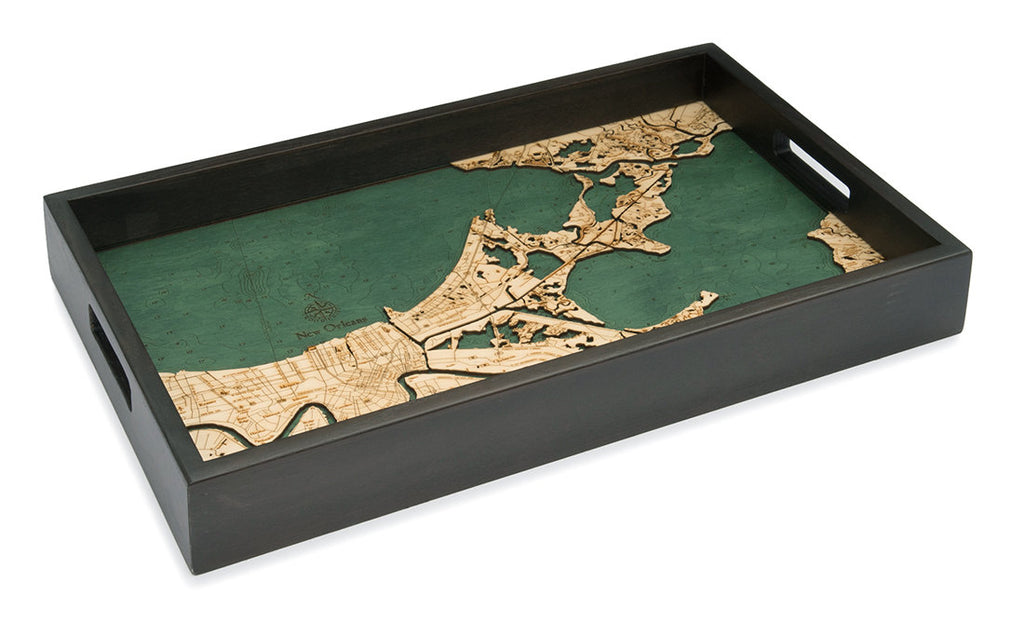 New Orleans Wooden Topographical Serving Tray