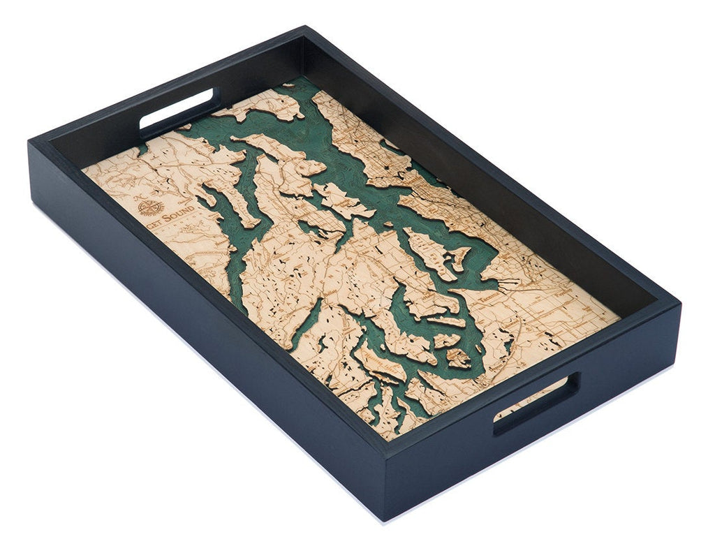 Puget Sound Wooden Topographical Serving Tray