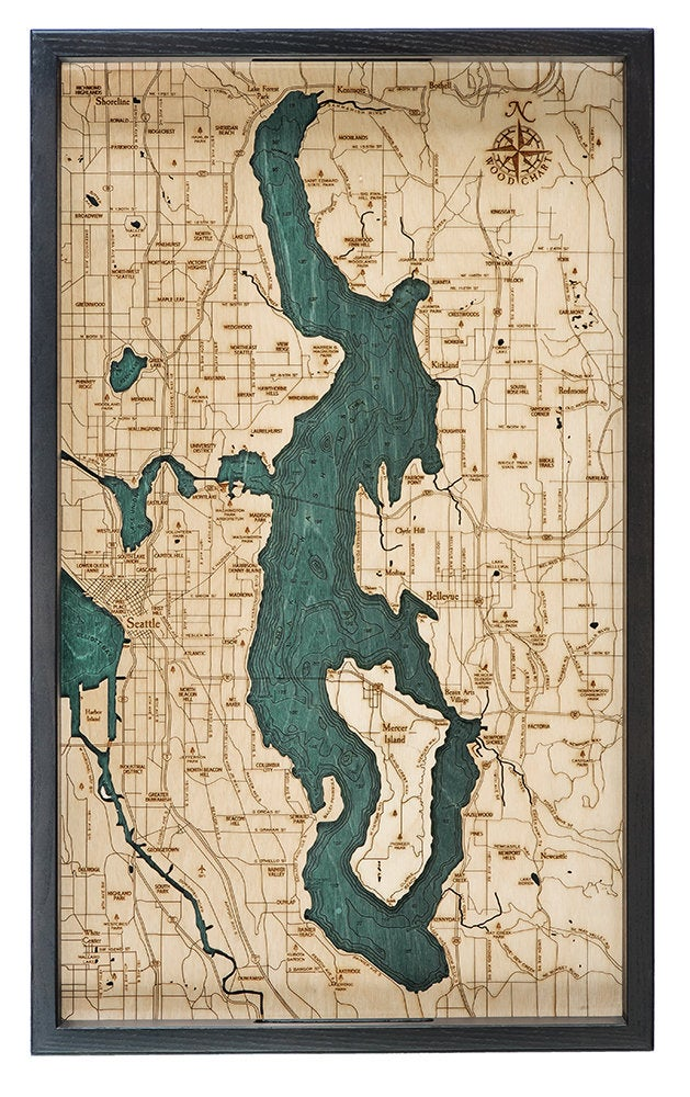 Lake Washington Wooden Topographical Serving Tray - Nautical Lake Art