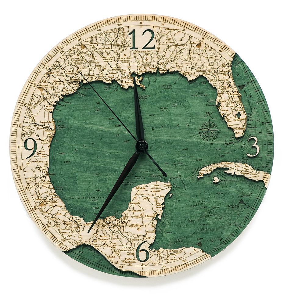 Gulf of Mexico Wood Carved Clock - Nautical Lake Art