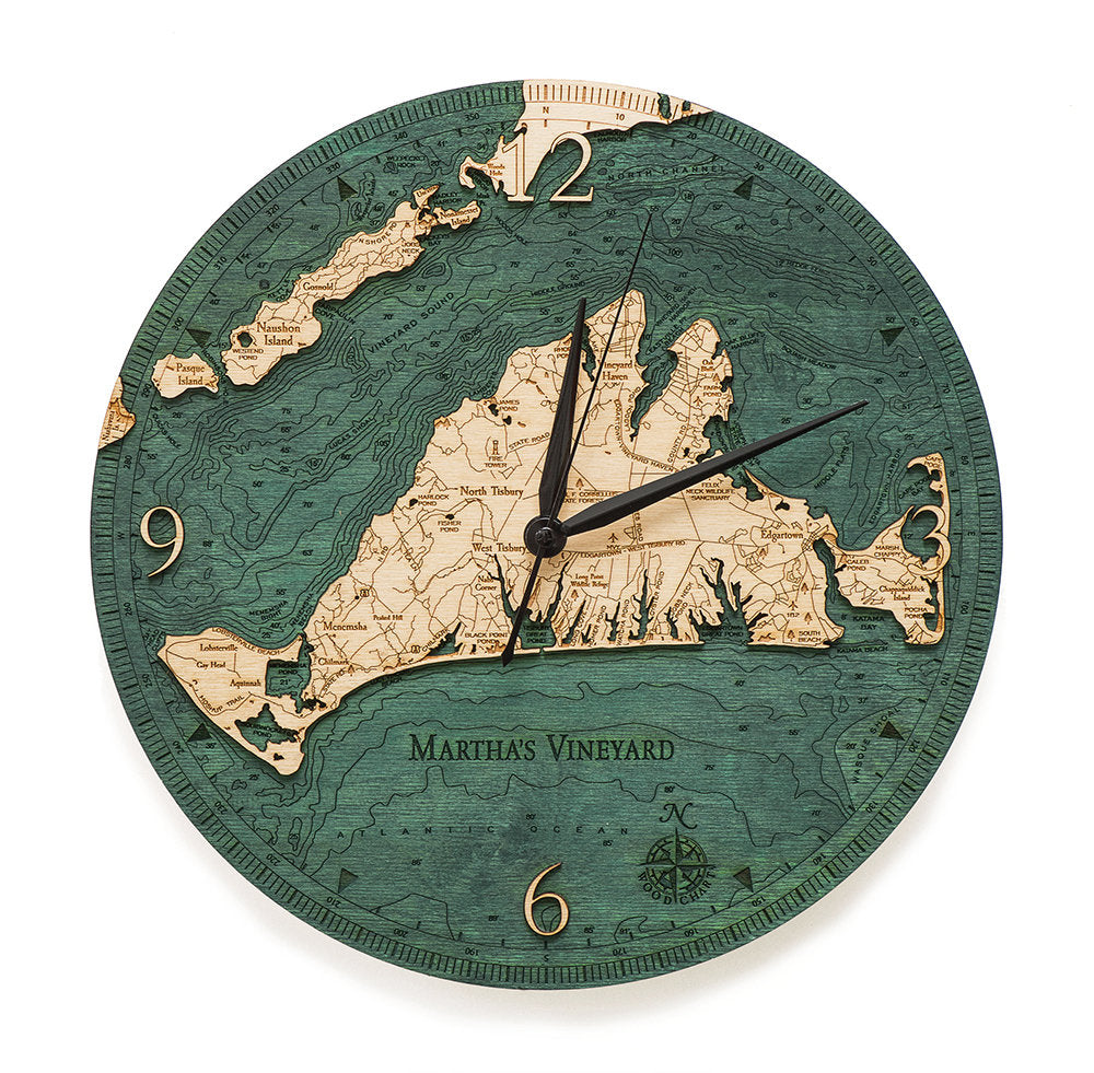 Martha's Vineyard Wood Carved Clock - Nautical Lake Art