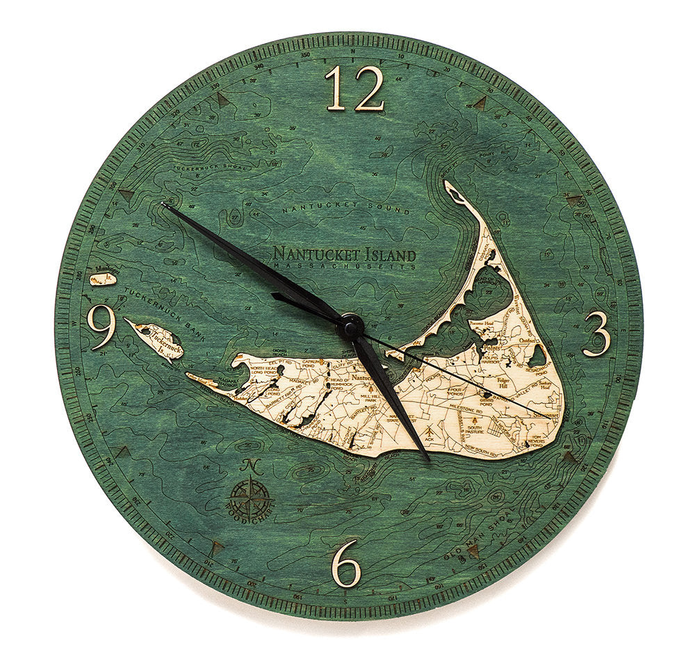 Nantucket Wood Carved Clock