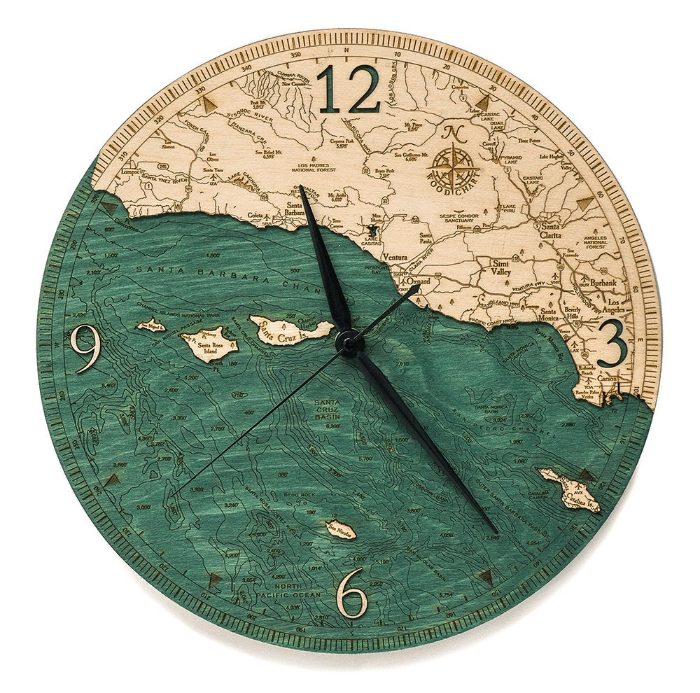 Santa Barbara / Channel Islands Wood Carved Clock