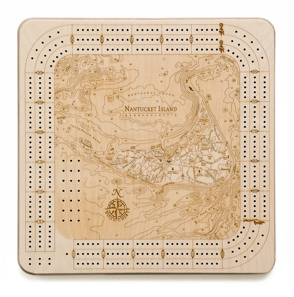 Nantucket Topographic Cribbage Board