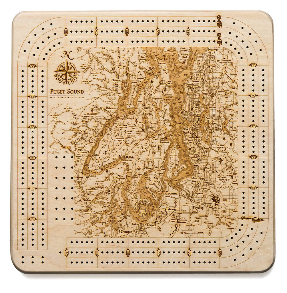 Puget Sound Topographic Cribbage Board - Nautical Lake Art