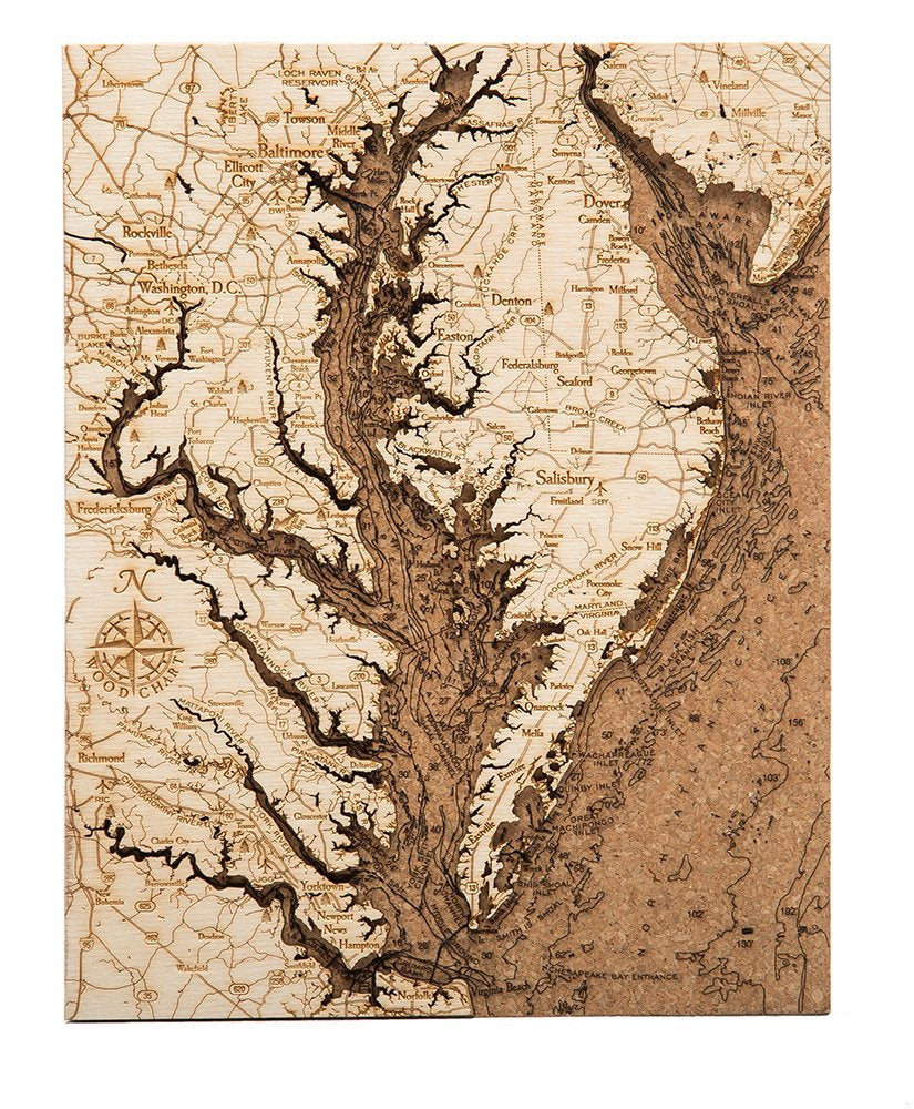 Chesapeake Bay Topographic Cork Decoration - Nautical Lake Art