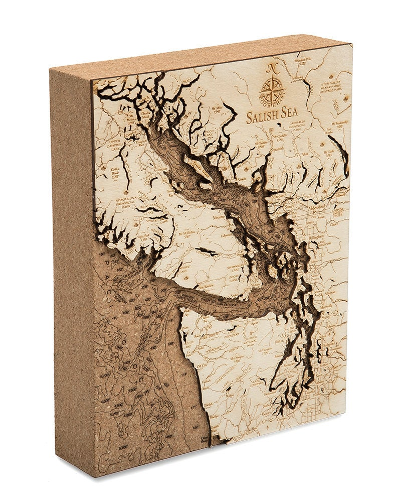 Salish Sea Topographic Cork Decoration - Nautical Lake Art