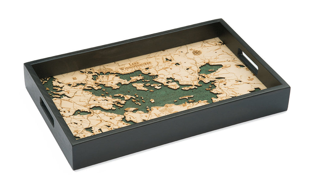 Lake Winnipesaukee Wooden Topographical Serving Tray - Nautical Lake Art