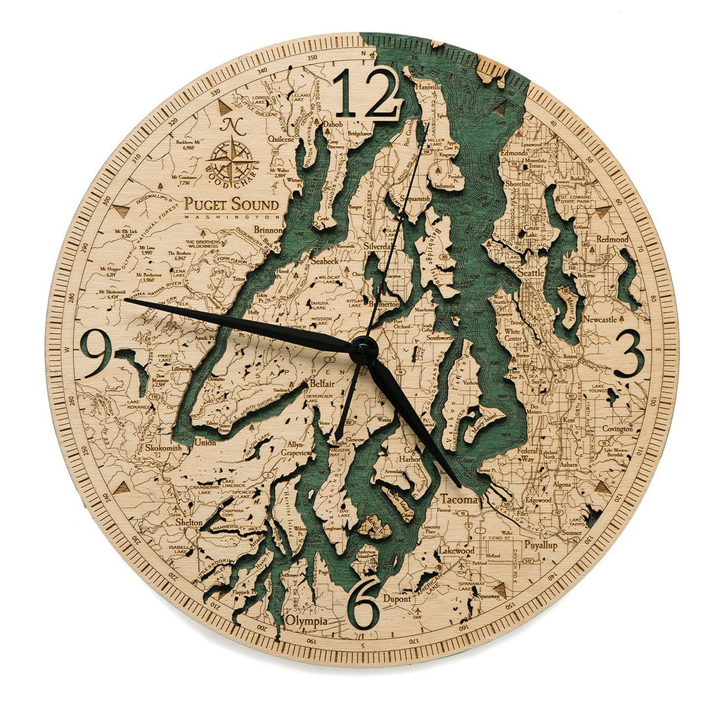 Puget Sound Wood Carved Clock - Nautical Lake Art