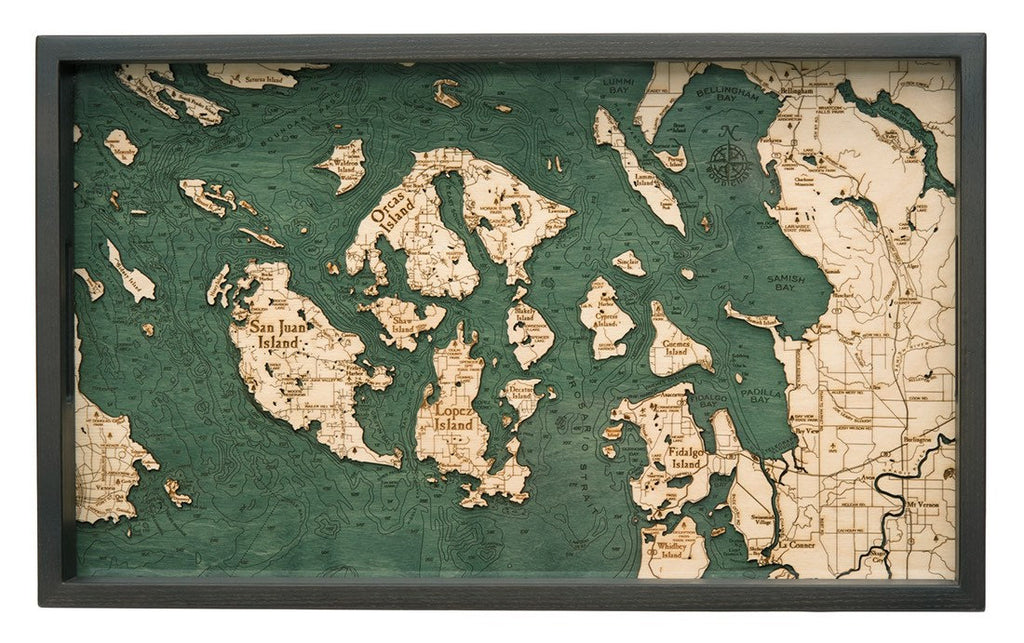 San Fransisco Wooden Topographical Serving Tray - Nautical Lake Art