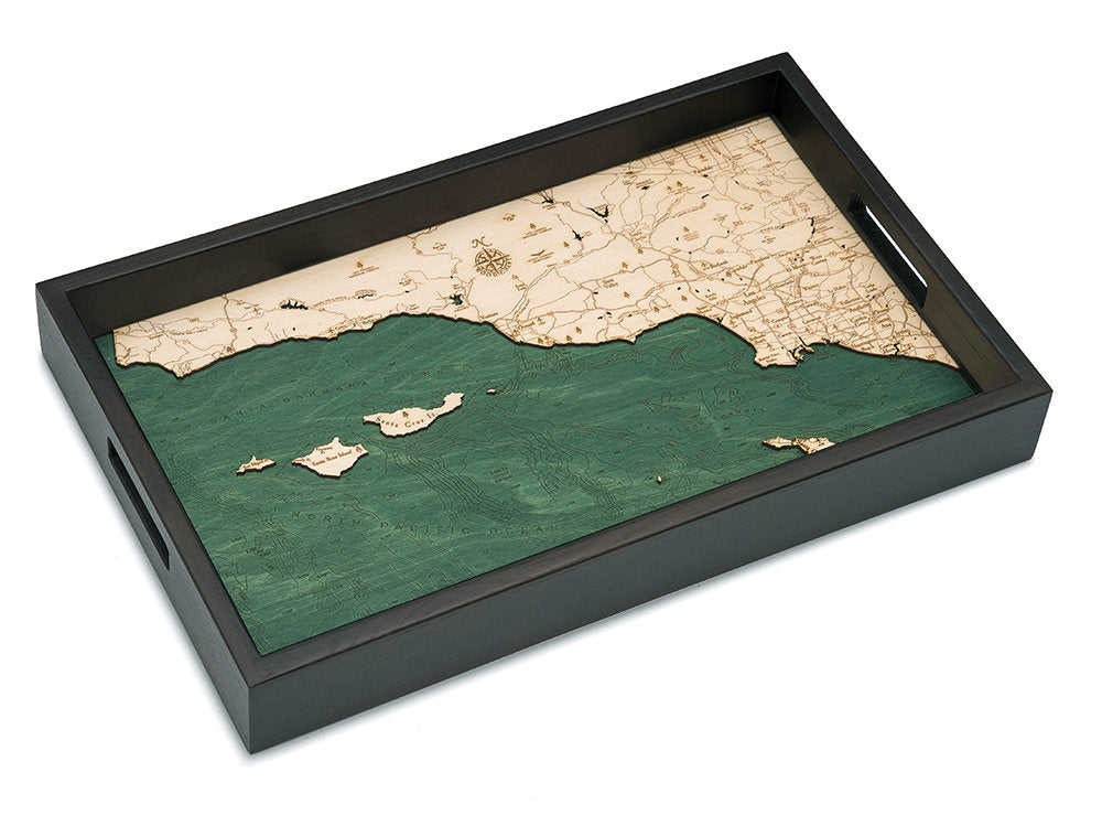Santa Barbara / Channel Islands Wooden Topographical Serving Tray - Nautical Lake Art