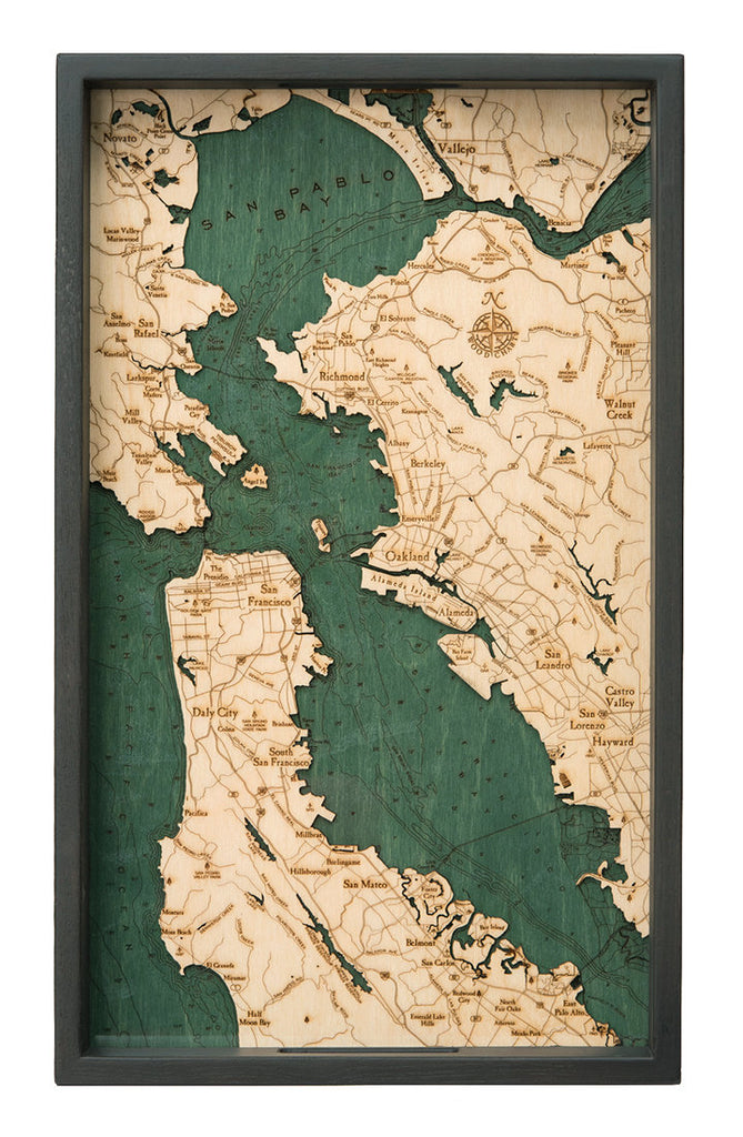 San Fransisco CA Wooden Topographical Serving Tray