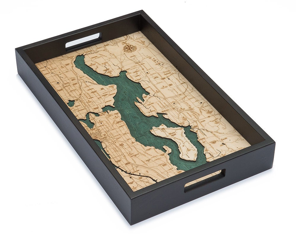 Lake Washington Wooden Topographical Serving Tray