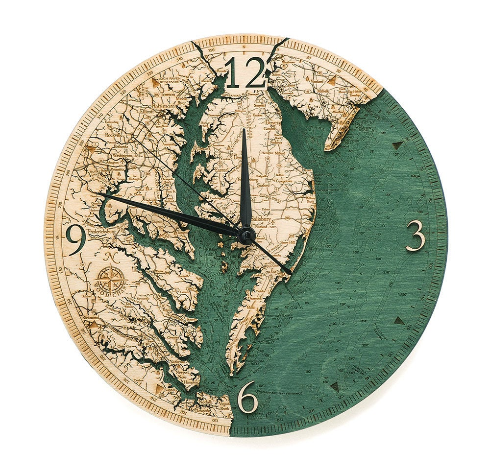 Chesapeake Bay Wood Carved Clock - Nautical Lake Art