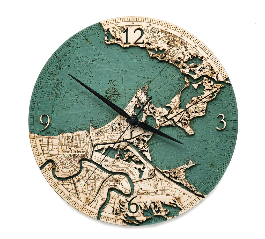 New Orleans Wood Carved Clock - Nautical Lake Art