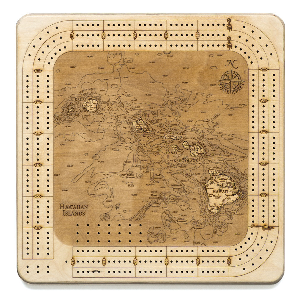 Hawaiian Islands Topographic Cribbage Board