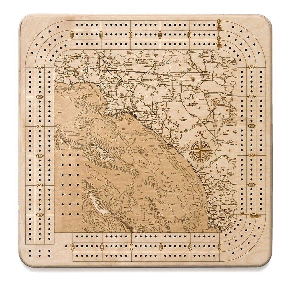 LA to San Diego Topographic Cribbage Board - Nautical Lake Art