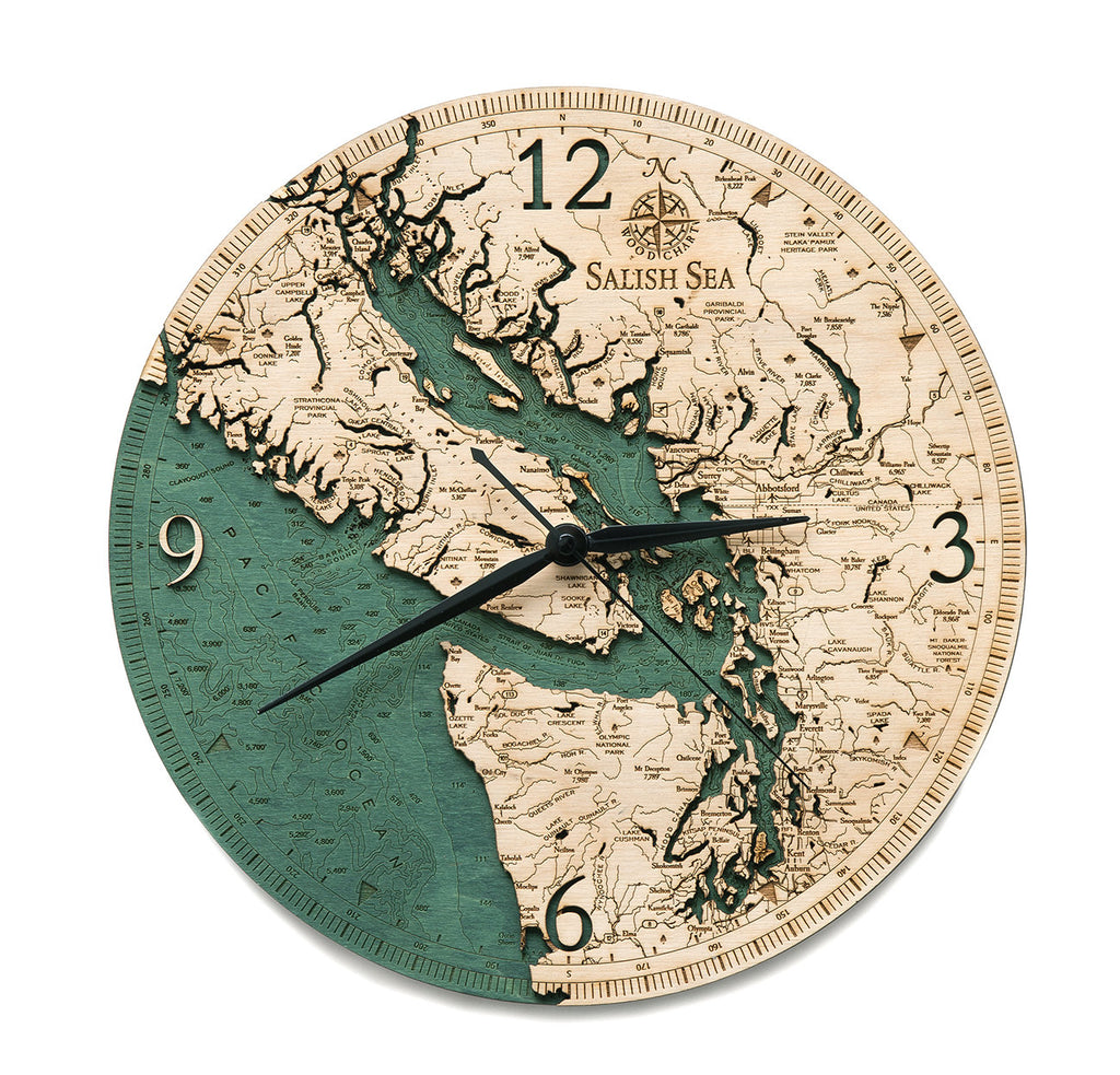 Salish Sea Wood Carved Clock - Nautical Lake Art