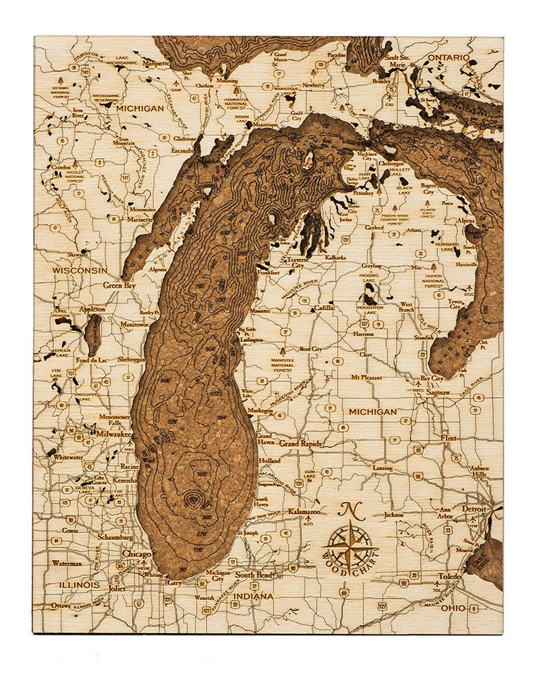 Lake Michigan Topographic Cork Decoration - Nautical Lake Art
