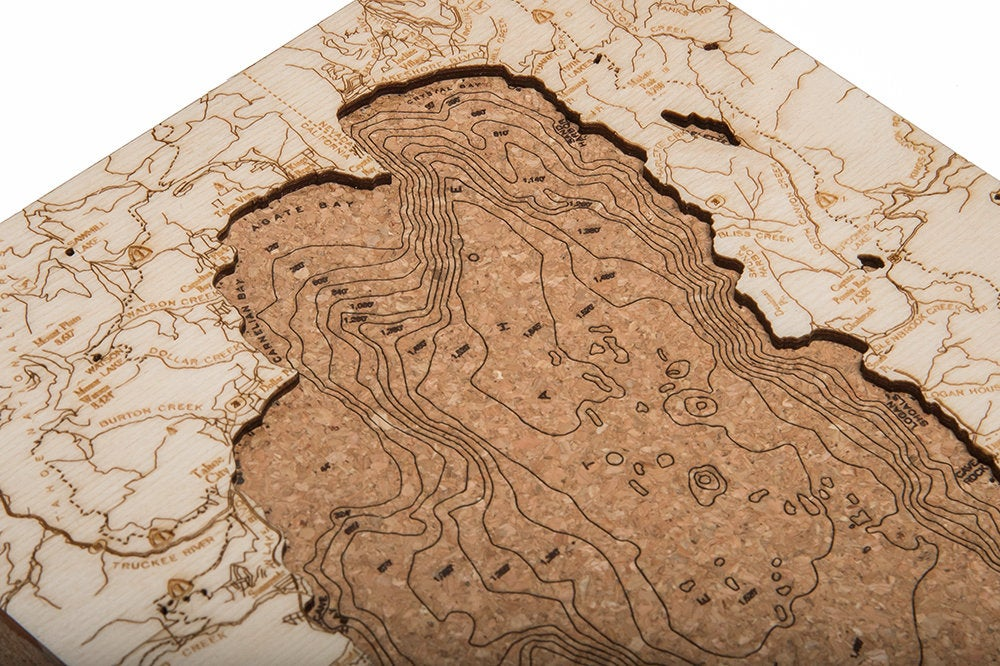 Lake Tahoe Topographic Cork Decoration