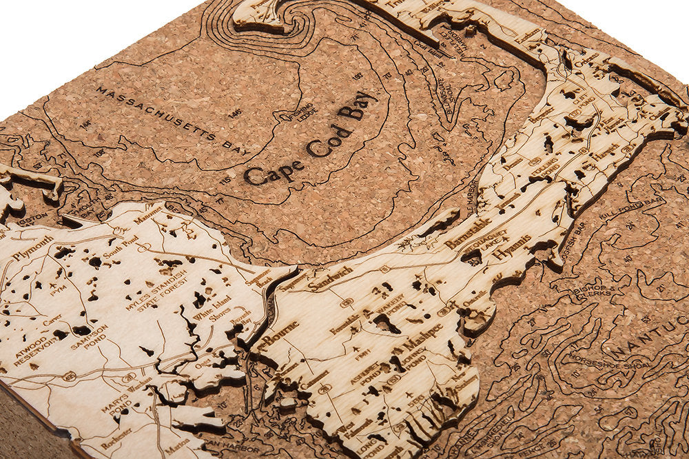 Cape Cod Topographic Cork Decoration