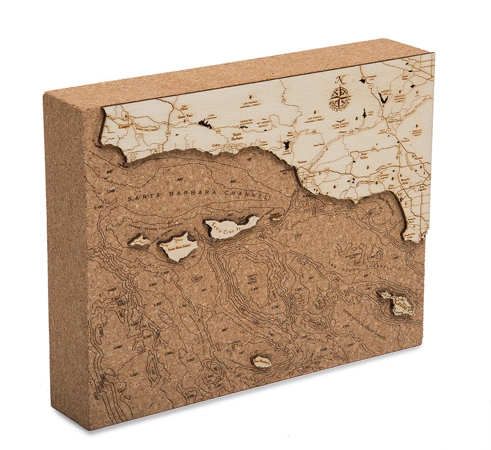 Santa Barbara Topographic Cork Decoration - Nautical Lake Art