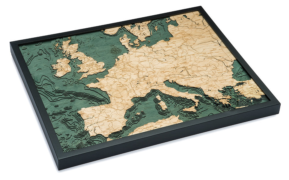 Western Europe Wood Carved Topographic Depth Chart / Map - Nautical Lake Art