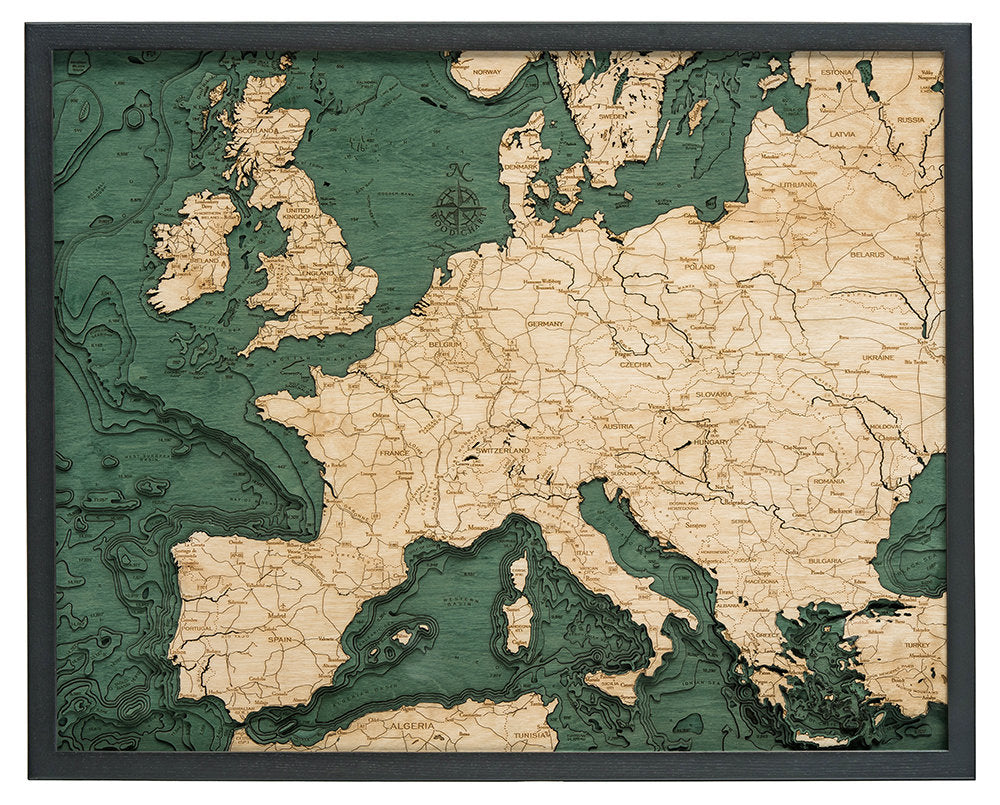 Western Europe Wood Carved Topographic Depth Chart / Map