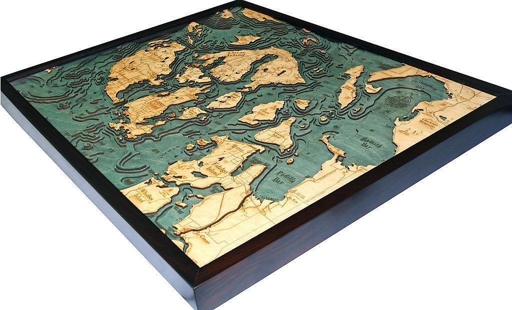 San Juan Islands Wood Carved Topographical Map - Nautical Lake Art