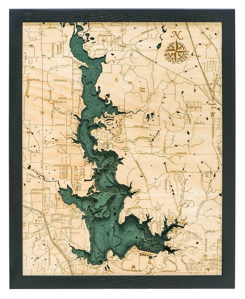 Eagle Mountain Lake Wood Carved Topographic Chart / Map - Nautical Lake Art
