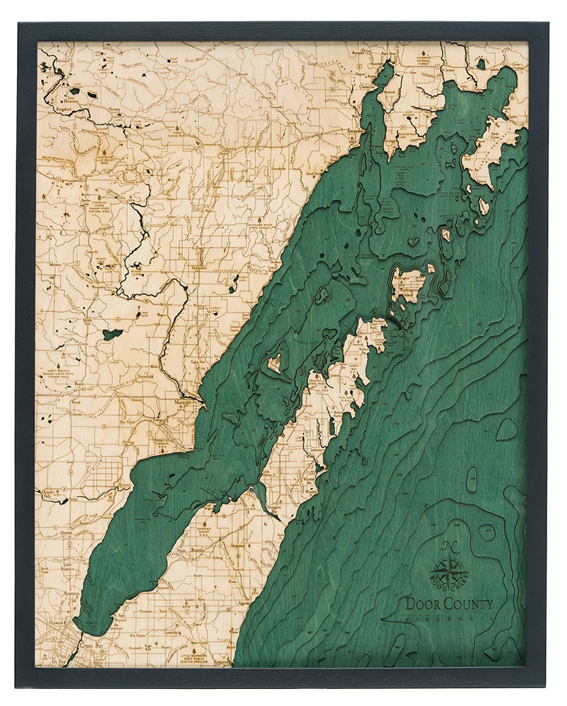 Door County Wood Carved Topographic Depth Chart / Map - Nautical Lake Art