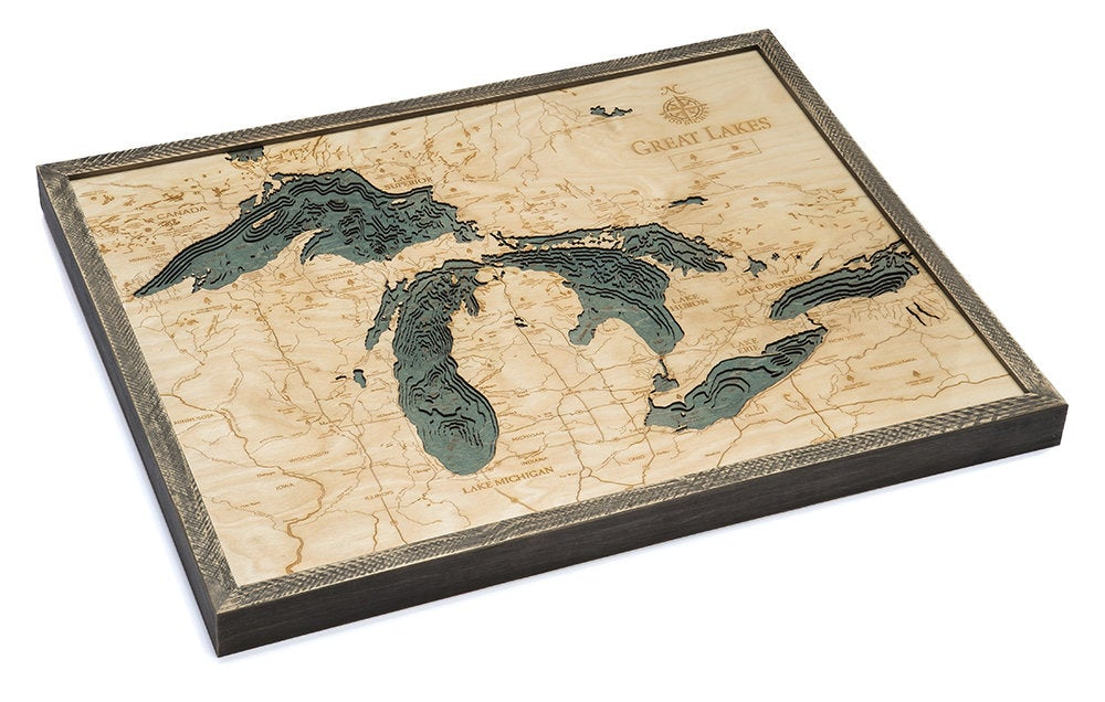 Great Lakes Wood Carved Topographical Depth Chart / Map - Nautical Lake Art