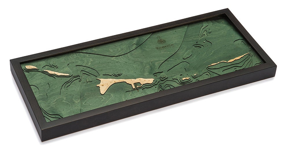 Walker Cay Wood Carved Topographic Depth Chart / Map