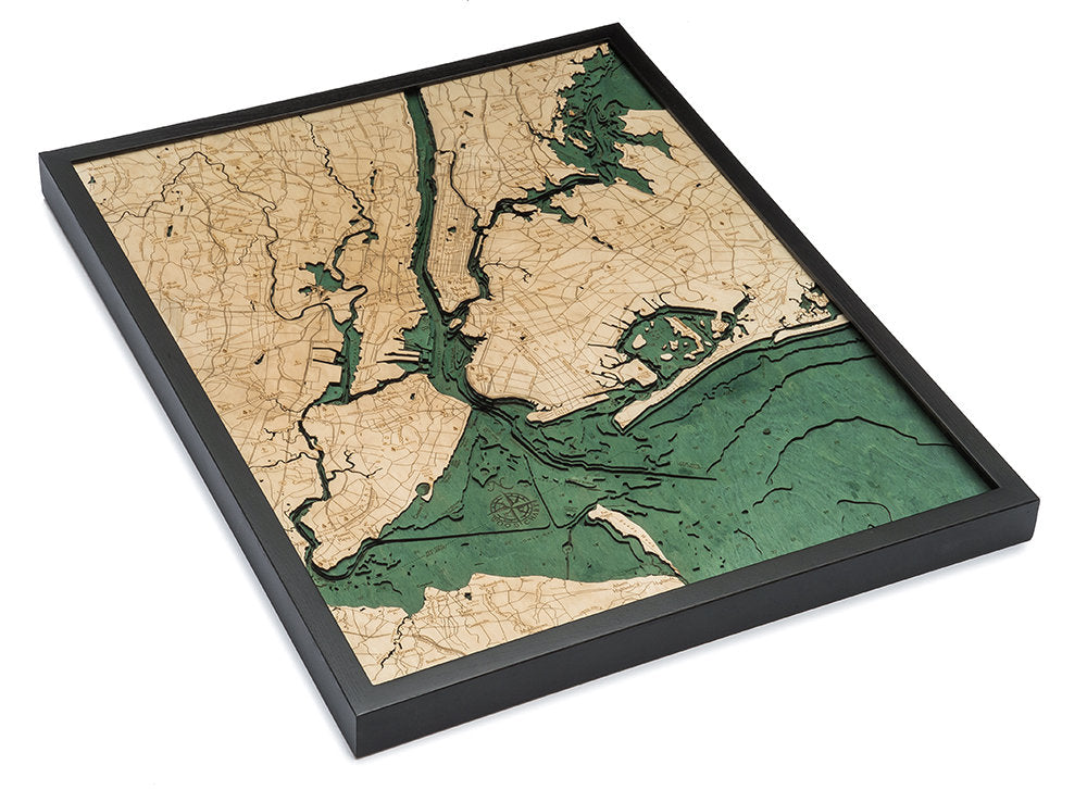 5 Boroughs of New York Wood Carved Topographic Depth Chart / Map - Nautical Lake Art