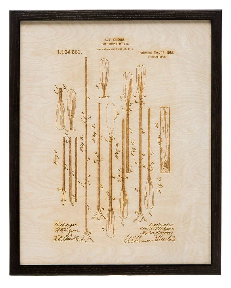 Paddle Patent Art / Wood Carved Home Decor - Nautical Lake Art