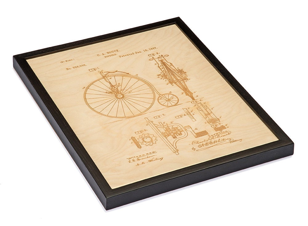 Bike Patent Art / Wood Carved Home Decor - Nautical Lake Art