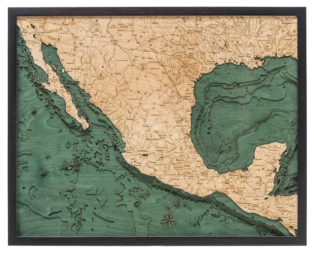 Mexico Wood Carved Topographic Depth Chart / Map - Nautical Lake Art