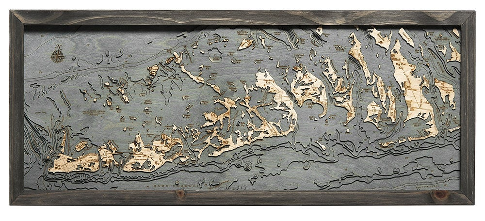 Florida Keys Wood Carved Topographic Depth Chart / Map - Nautical Lake Art