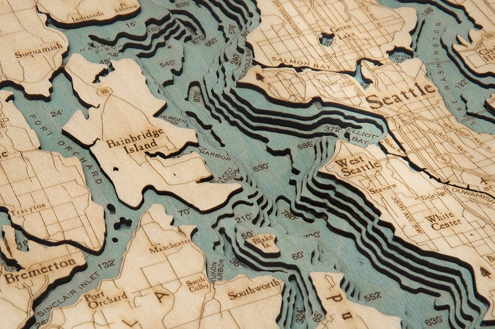 Puget Sound Wood Carved Topographic Map - Nautical Lake Art