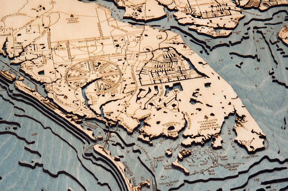 Charlotte Harbor Wood Carved Topographic Depth Chart / Map - Nautical Lake Art