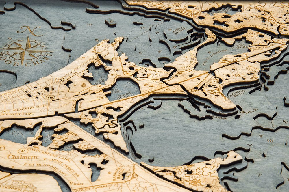 New Orleans Wood Carved Topographic Depth Chart / Map - Nautical Lake Art