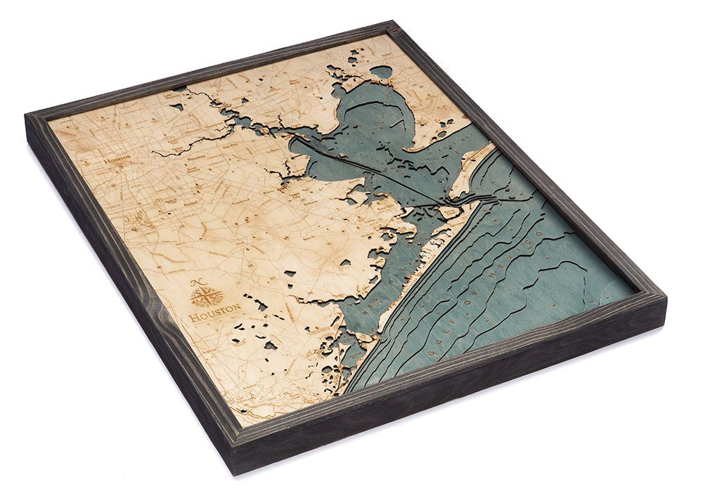 Houston, TX Wood Carved Topographic Depth Chart / Map - Nautical Lake Art