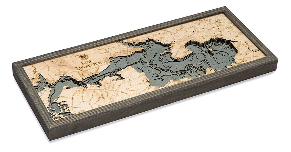 Lake Livingston Wood Carved Topographic Depth Chart / Map - Nautical Lake Art
