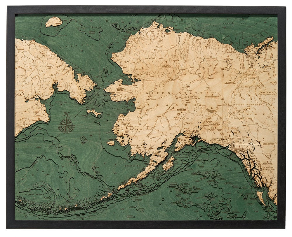 Alaska Wood Carved Topographic Depth Chart / Map - Nautical Lake Art