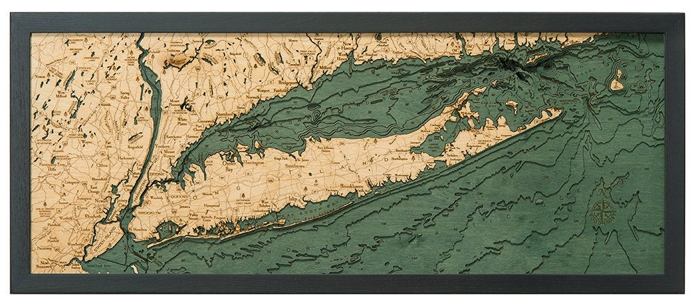Long Island Sound Wood Carved Topographic Depth Map / Chart - Nautical Lake Art