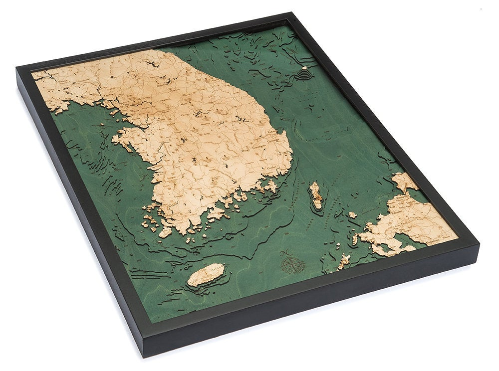 South Korea Wood Carved Topographic Depth Map - Nautical Lake Art