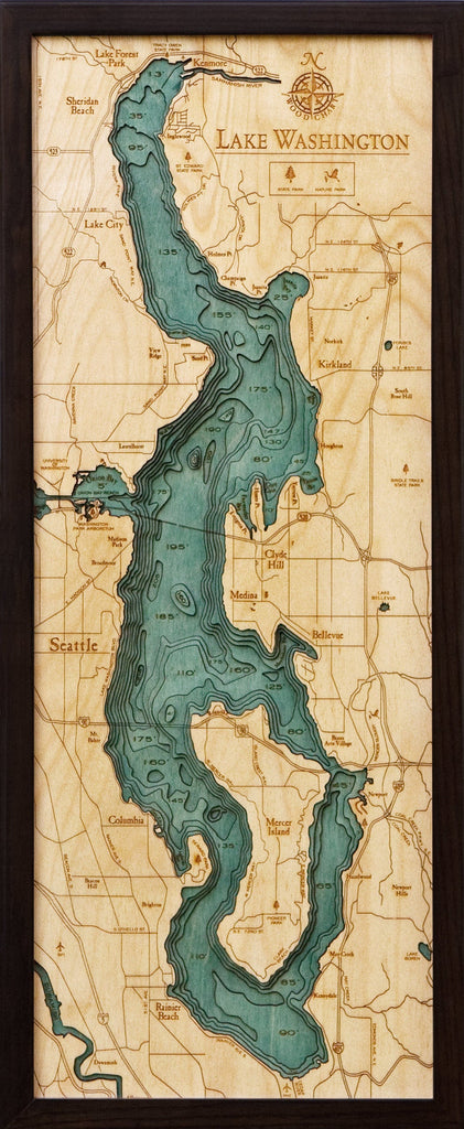 Lake Washington Wood Carved Topographic Map - Nautical Lake Art