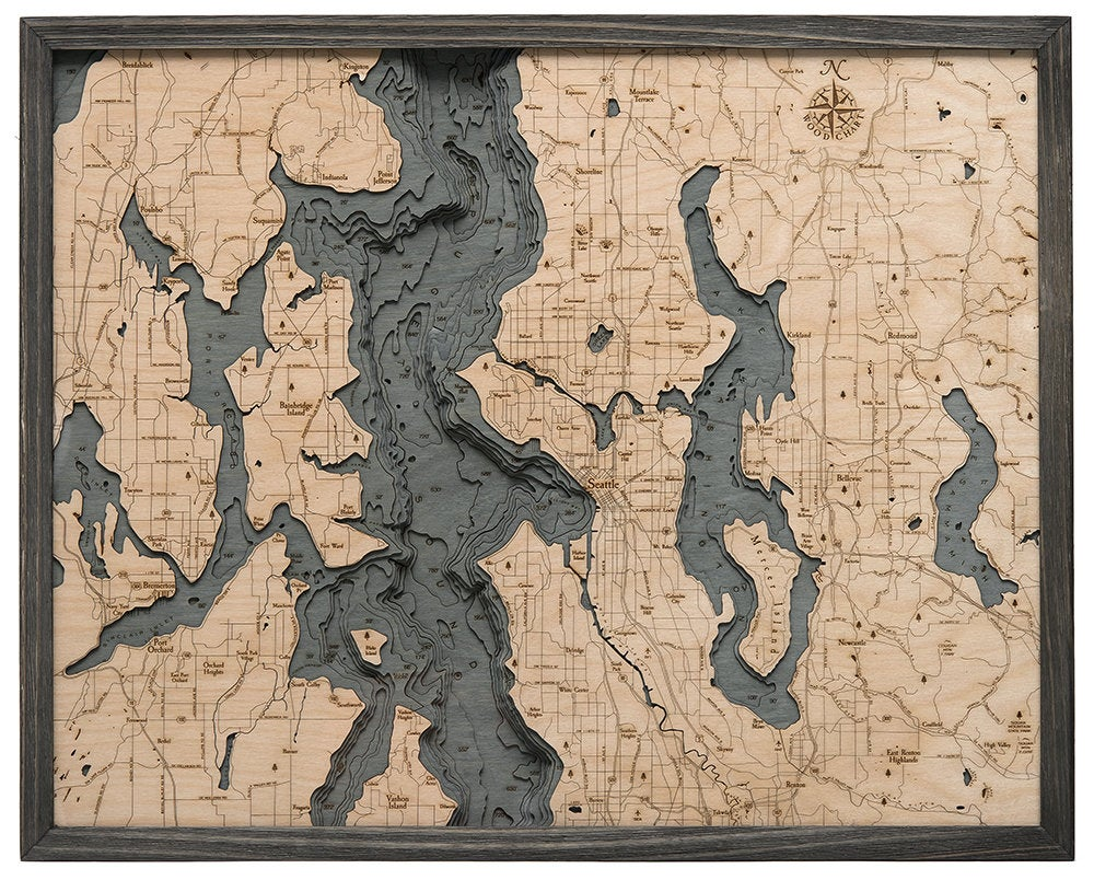 Seattle, WA Wood Carved Topographical Map - Nautical Lake Art